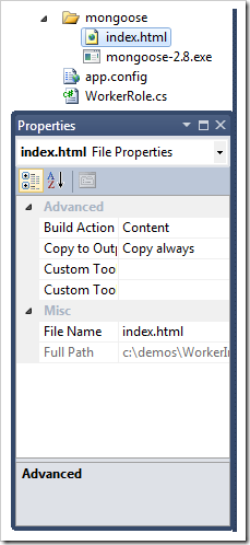 VS file properties - screenshot